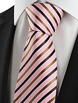 KissTies Men's Striped Brown Pink Microfiber Tie Necktie For Wedding Party Holiday With Gift Box