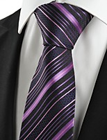KissTies Men's New Purple Striped Black Microfiber Tie Necktie For Wedding Holiday With Gift Box