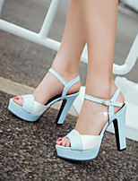 Scarpe Donna-Sandali-Formale / Casual / Serata e festa-Spuntate / Plateau-Quadrato-Finta pelle-Blu / Rosa / Beige