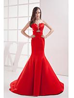 Formal Evening Dress-Ruby Trumpet/Mermaid Strapless Court Train Satin