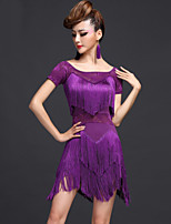 Latin Dance Dresses Women's Performance Chinlon / Viscose Tassel(s) 2 Pieces Black / Fuchsia / Purple / Royal Blue Latin Dance