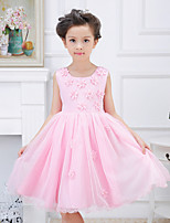 A-line Knee-length Flower Girl Dress-Satin / Tulle / Polyester Sleeveless