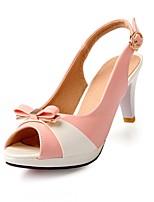 Chaussures Femme-Mariage / Bureau & Travail / Soirée & Evénement-Vert / Rose / Blanc-Talon Aiguille-Bout Ouvert-Sandales-Similicuir