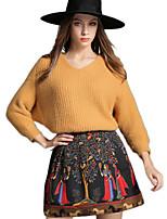 Womens 2Pcs Soft Sweater Retro Pattern Mini Skirt