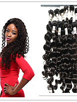 3Pc/Lot Virgin Human Hair 100% Peruvian Hair Natural Color Deep Wave Hair Weft Bundles Hair