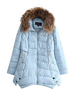 Women's Solid Blue / Red / White / Black / Yellow Padded Coat,Simple Hooded Long Sleeve