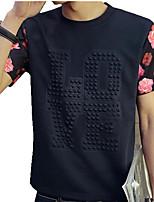 Masculino Camiseta Casual Estampado / Letra Algodão Manga Curta Masculino