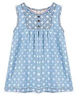 Robe Fille de Eté / Printemps Coton Bleu