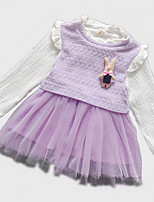 Girl's Pink / Purple Dress,Floral / Ruffle Cotton Spring / Fall