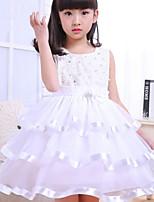 A-line Knee-length Flower Girl Dress-Satin / Tulle / Polyester Sleeveless