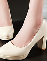 Women's Shoes Chunky Heel Heels/Platform/Round Toe Heels Office & Career/Dress Blue/Pink/White/Beige