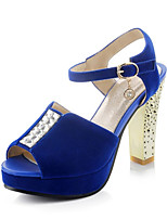 Women's Shoes Fleece Chunky Heel Heels / Peep Toe Sandals Wedding / Party & Evening / Dress Black / Blue / Red