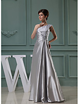 Formal Evening Dress-Silver A-line One Shoulder Lace / Stretch Satin