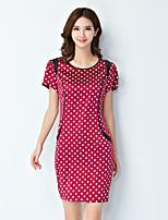 Women's Vintage / Simple Polka Dot Sheath Dress,Round Neck Above Knee Silk