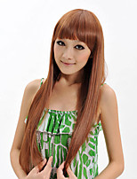 grande longueur des cheveux raides armure européenne cheveux couleur brune perruque synthétique