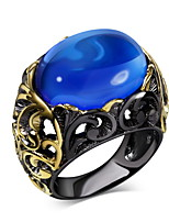 New Arrival Jewelry Black Gold Plated Blue Sapphire Glass Oval Bead Lead Free Evening cocktail ring for women