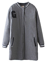 Women's Patchwork Gray Coat,Simple / Active Long Sleeve Polyester