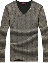 Men's Long Sleeve T-Shirt,Cotton / Spandex Casual Solid