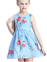 Girl's Blue / White Dress Cotton / Polyester Summer