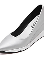 Women's Shoes Leatherette Wedge Heel Pointed Toe Heels Party & Evening / Dress Black / Silver
