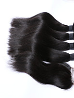 Волосы Уток с закрытием Перуанские волосы Прямые 6 месяца 3 предмета волосы ткет