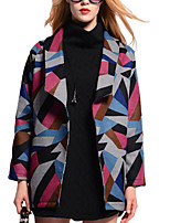 Women's Color Block Coat,Simple Long Sleeve
