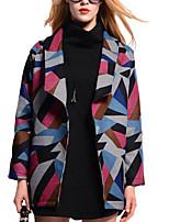 Women's Color Block Coat,Simple Long Sleeve