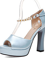 Women's Shoes Chunky Heels/Platform/Sling back/Open Toe Pearl Sandals Wedding Shoes/Party & Evening/Dress Blue/Pink
