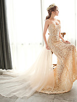 웨딩 드레스-샴페인 트럼펫/멀메이드 쿼트 트레인 튜브탑 레이스 / 오르간자
