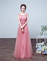 Formal Evening Dress-Blushing Pink / Ruby Ball Gown Jewel Floor-length Satin / Tulle