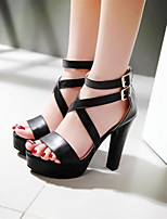 Women's Shoes Leatherette Chunky Heel Heels Sandals Wedding / Office & Career / Dress / CasualBlack / Blue / Pink /
