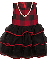 Girl's Black / Red Dress,Ruffle Cotton Summer / Spring