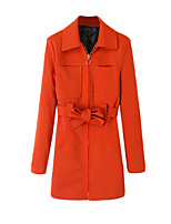 Women's Solid Orange Coat,Simple Long Sleeve Polyester