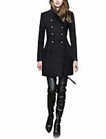 Women's Black / Brown Coat,Simple Long Sleeve Wool