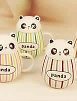 2pcs 400ml belle tasse panda céramique émail barre de couleur tasse tasses d'eau goutte ventru (couleur aléatoire)