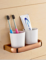 Rose Gold Finish Brass Material Toothbrush Holder