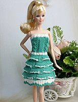 Poupée Barbie-Blanc / Vert-Informel-Robes- enLaineux