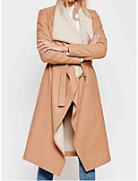 Women's Solid Beige Coat,Simple Long Sleeve Wool