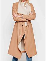 Women's Solid Beige Coat,Simple Long Sleeve Wool