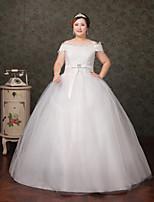 A-line Wedding Dress-White Floor-length Bateau Lace / Tulle