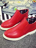 Chaussures Femme-Extérieure / Décontracté-Noir / Rouge / Blanc-Talon Plat-Bottes à la Mode-Bottes-Similicuir