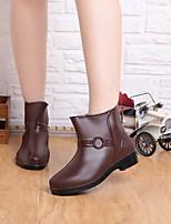 Chaussures Femme-Extérieure / Décontracté / Sport / Travaille-Bleu / Marron / Rouge-Talon Plat-Bottes de Pluie-Bottes-Gomme