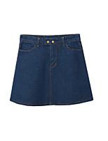 Women's Solid Blue Skirts,Street chic Mini