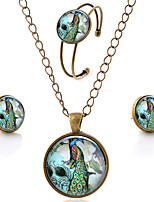 Lureme® Time Gem Series Simple Vintage Style Peacock Flowers Pendant Necklace Stud Earrings Bangle Jewelry Sets
