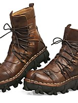 Men's Boots Fall Winter Comfort Nappa Leather Outdoor Office & Career Party & Evening Casual Work & Safety Hiking Light Brown