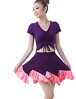 Latin Dance Outfits Women's Training Milk Fiber Draped / Pleated 2 Pieces Dark Purple