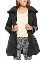 Women's Solid Black Padded Coat,Simple Shirt Collar Long Sleeve