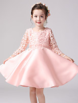 A-line Knee-length Flower Girl Dress-Lace / Satin / Polyester 3/4 Length Sleeve