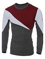 Masculino Camiseta Casual / Escritório / Formal / Esporte / Tamanhos Grandes Listrado / Xadrez / Color Block / PatchworkAlgodão /