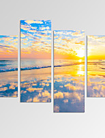 VISUAL STAR®Beautiful Seascape Picture Print on Canvas for Home Decoration Sunset on Sea Art Print Ready to Hang